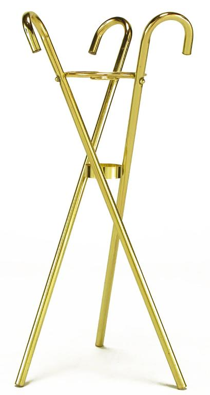 Brass Top Hat Champagne Cooler on Brass Cane Tripod Stand 5
