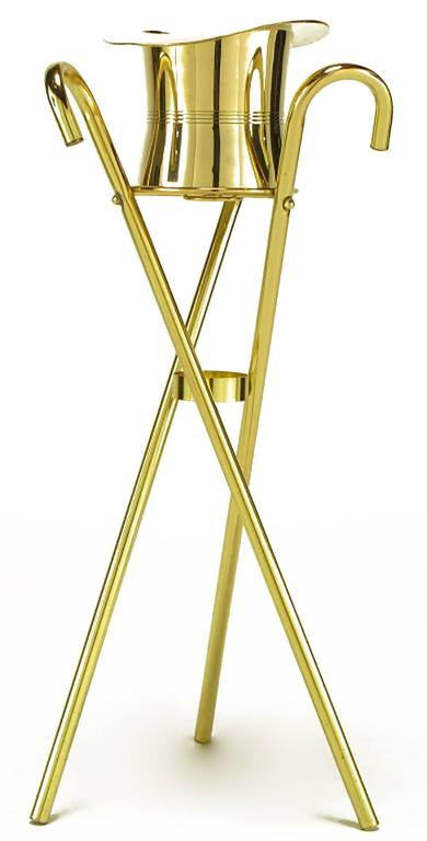 American Brass Top Hat Champagne Cooler on Brass Cane Tripod Stand For Sale