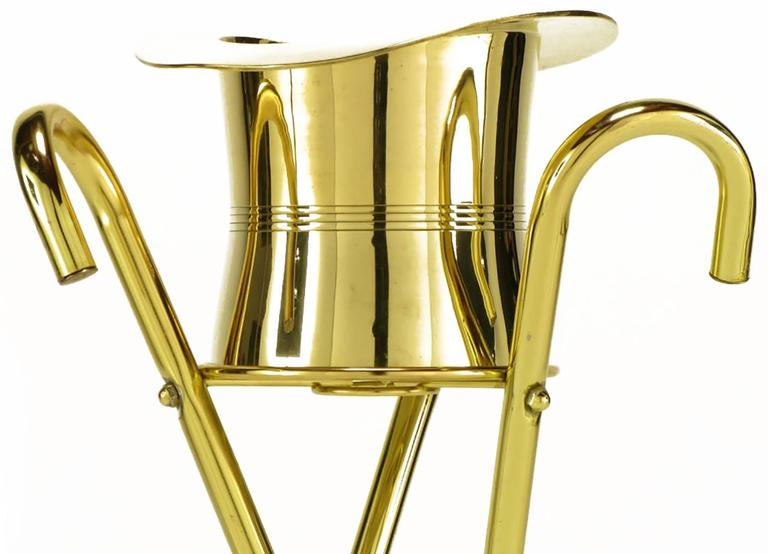Brass Top Hat Champagne Cooler on Brass Cane Tripod Stand For Sale 2