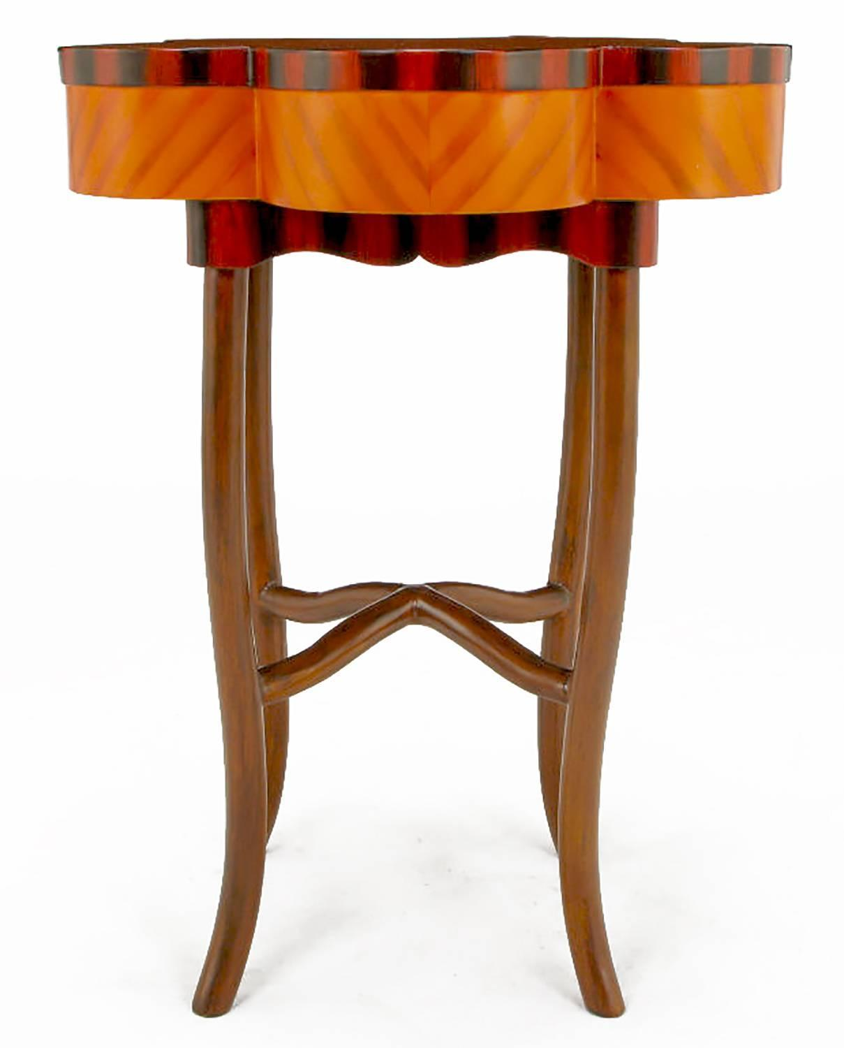 Pentafoil Side Table With Hand Painted Wood Marquetry Pattern For Sale . Full resolution‎  picture, nominally Width 1209 Height 1500 pixels, picture with #C34603.