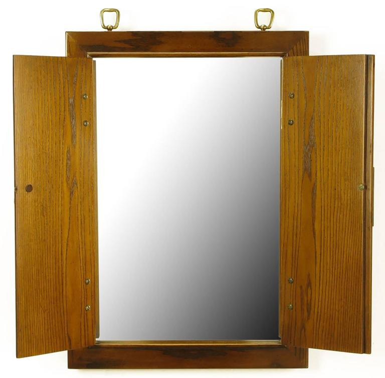 American Burled Walnut And Ash Two Door Enclosed Mirror With Brass Asian  Hardware For Sale