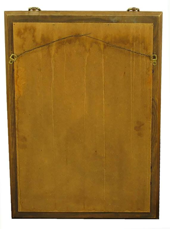 Merveilleux Burled Walnut And Ash Two Door Enclosed Mirror With Brass Asian Hardware  For Sale 1