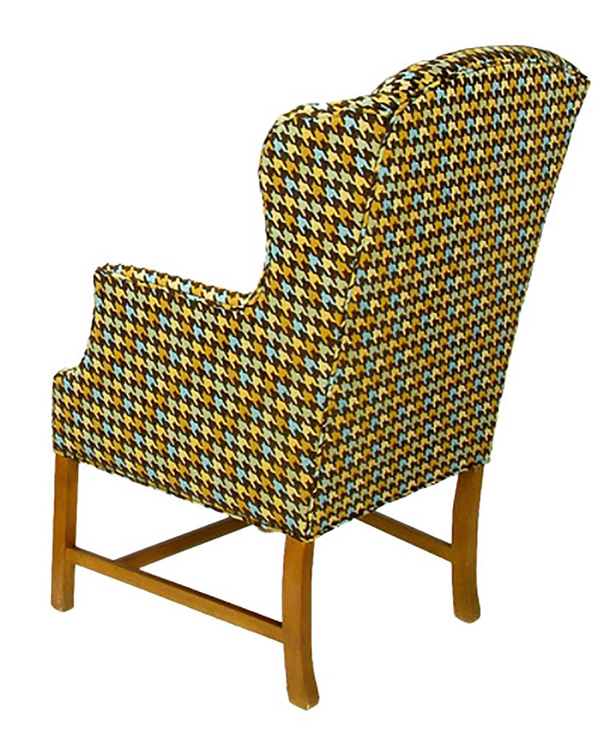 Pair of 1940s wing chairs in colorful overscaled houndstooth wool for