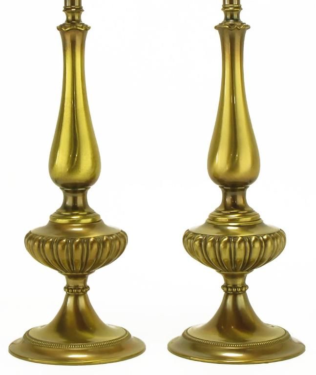 American Pair of Rembrandt Lighting Solid Brass Regency Table Lamps For Sale