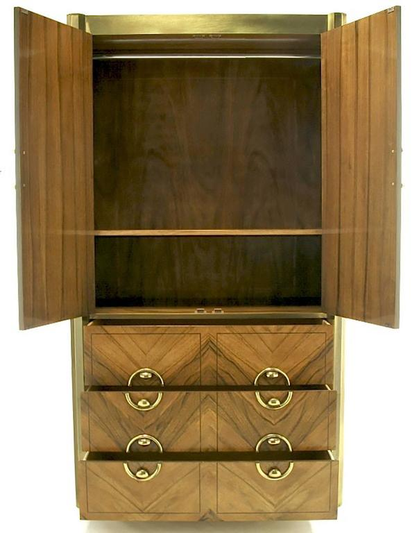 Brushed Mastercraft Zebrano Wood and Patinated Brass Tall Wardrobe Cabinet For Sale