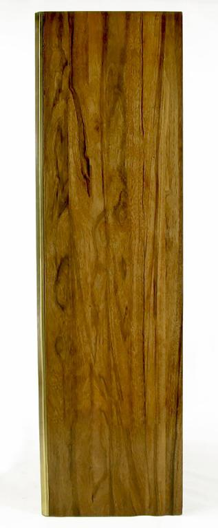 American Mastercraft Zebrano Wood and Patinated Brass Tall Wardrobe Cabinet For Sale