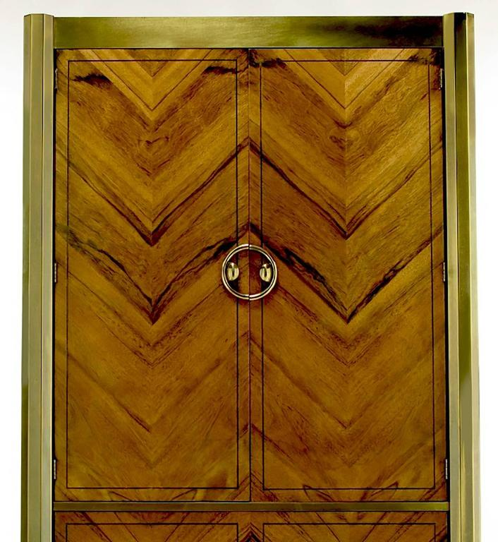 Mastercraft Zebrano Wood and Patinated Brass Tall Wardrobe Cabinet In Good Condition For Sale In Chicago, IL