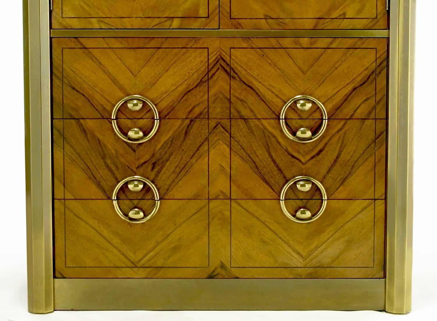 Mastercraft Zebrano Wood and Patinated Brass Tall Wardrobe Cabinet For ...