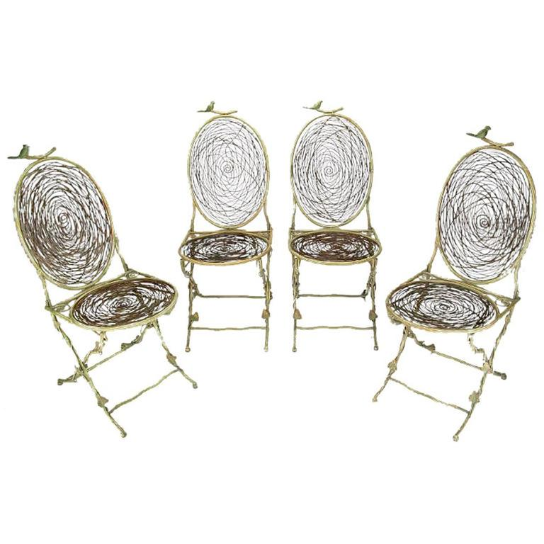 Four Iron Faux Bois Folding Chairs With Bird Nest Seats