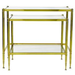 Two Italian Modern Brass and Glass Nesting Tables