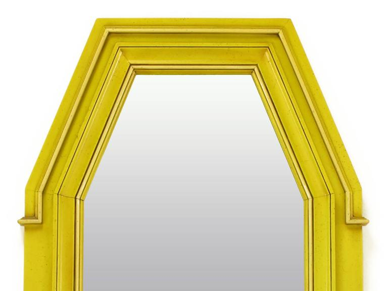 Empire Style Console and Mirror in Glazed Yellow Lacquer 9
