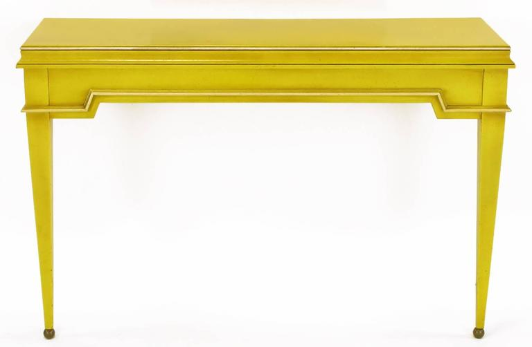 Empire Style Console and Mirror in Glazed Yellow Lacquer 4