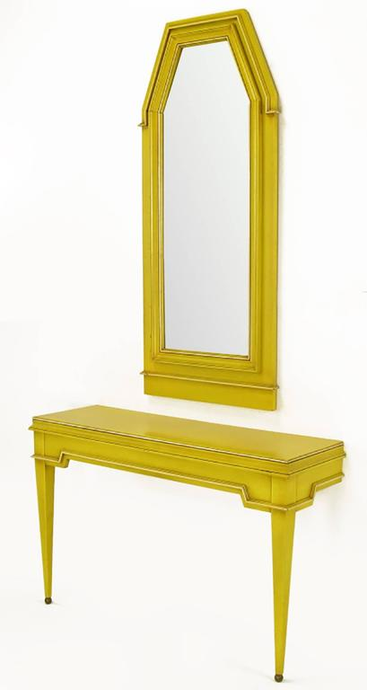Empire Style Console and Mirror in Glazed Yellow Lacquer 2