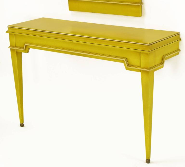 Empire Style Console and Mirror in Glazed Yellow Lacquer 6