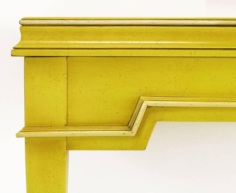 Empire Style Console and Mirror in Glazed Yellow Lacquer 8