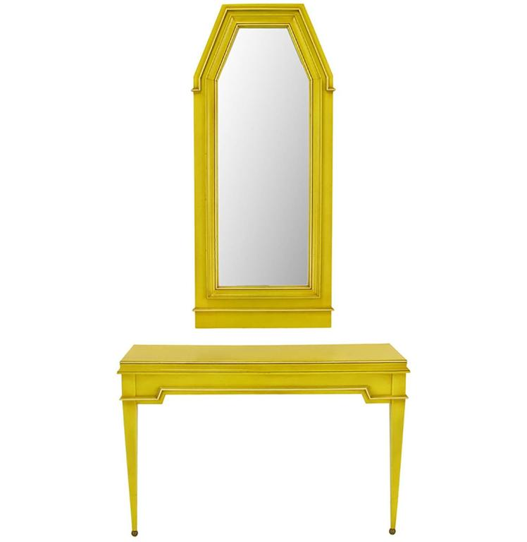 Empire Style Console and Mirror in Glazed Yellow Lacquer 1