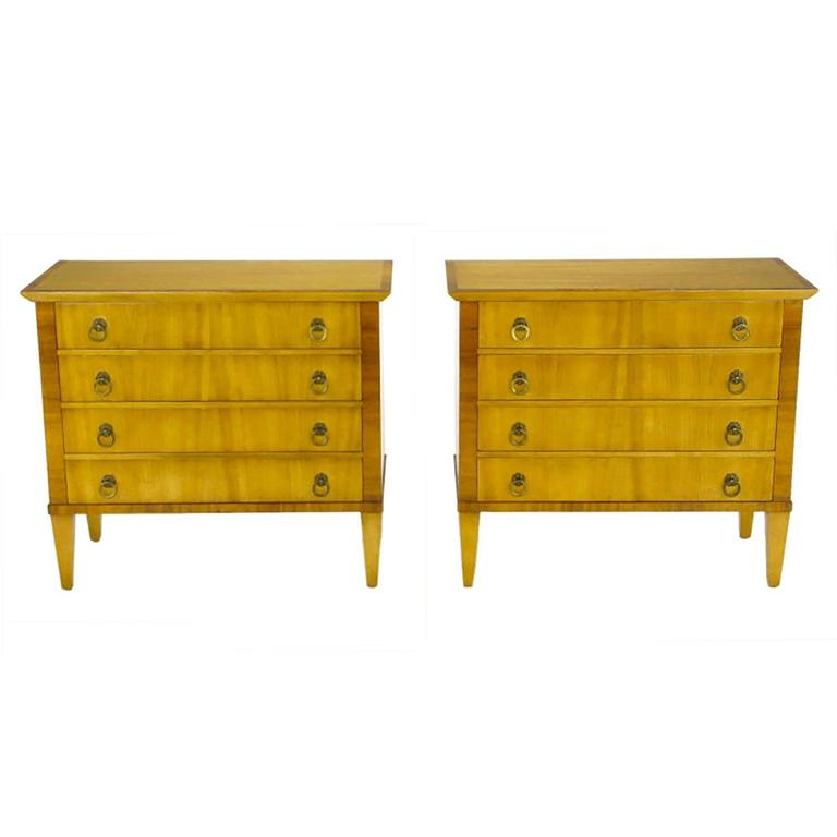Pair of Old Colony Bleached Walnut and Mahogany Commodes