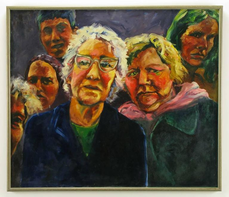 Large and colorful Expressionist painting of two curious women in the foreground, with four other people in the background. Oil on canvas with silver leafed wood frame. Unsigned, but authenticated by Chicago artist Nancy King Mertz as one of her