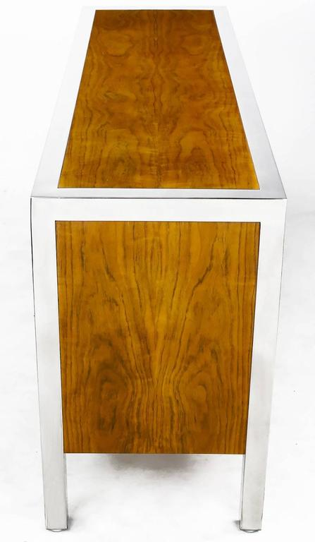 Italian Pace Collection Koa Wood and Polished Steel Cabinet For Sale