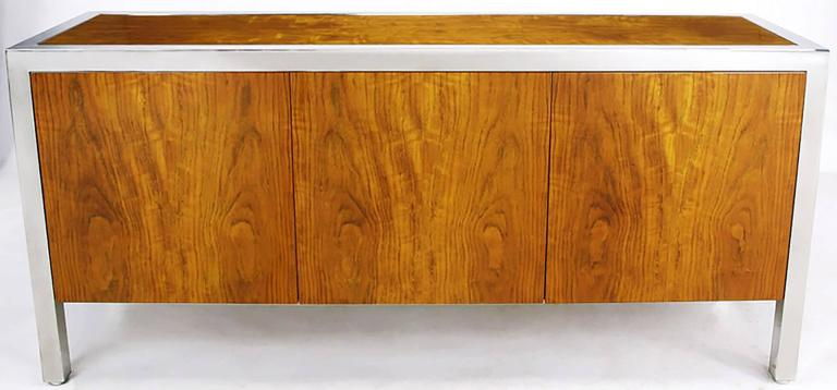 Pace Collection Koa Wood and Polished Steel Cabinet In Good Condition For Sale In Chicago, IL