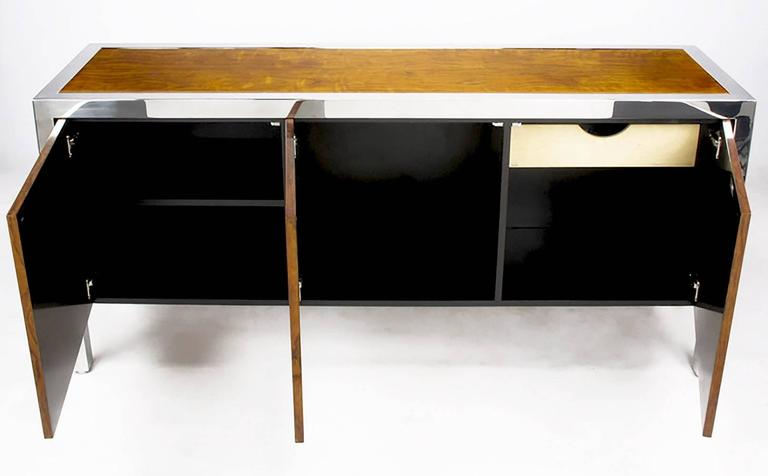Late 20th Century Pace Collection Koa Wood and Polished Steel Cabinet For Sale