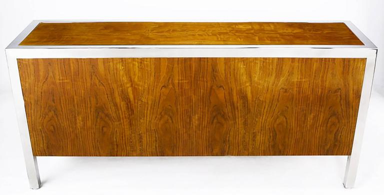 Pace Collection Koa Wood and Polished Steel Cabinet For Sale 1