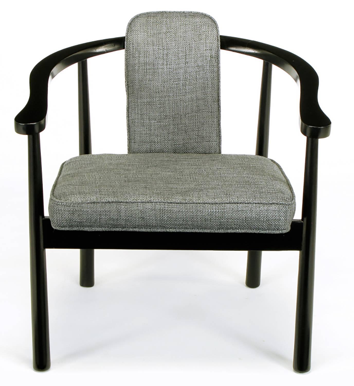 Six Slate Grey Linen Upholstered And Ebonized Yoke Arm