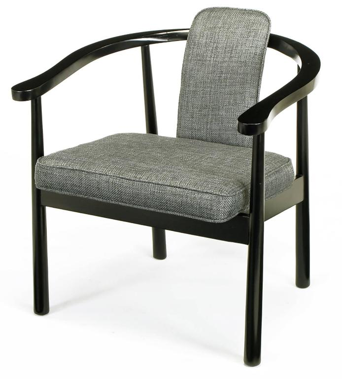 Six slate grey linen upholstered and ebonized yoke arm for Upholstered linen dining chairs