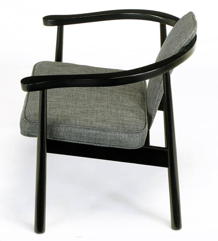 Six Slate Grey Linen Upholstered and Ebonized Yoke Arm Dining Chairs In Excellent Condition For Sale In Chicago, IL
