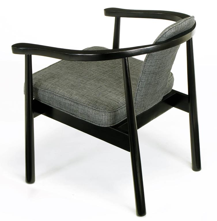 Late 20th Century Six Slate Grey Linen Upholstered and Ebonized Yoke Arm Dining Chairs For Sale