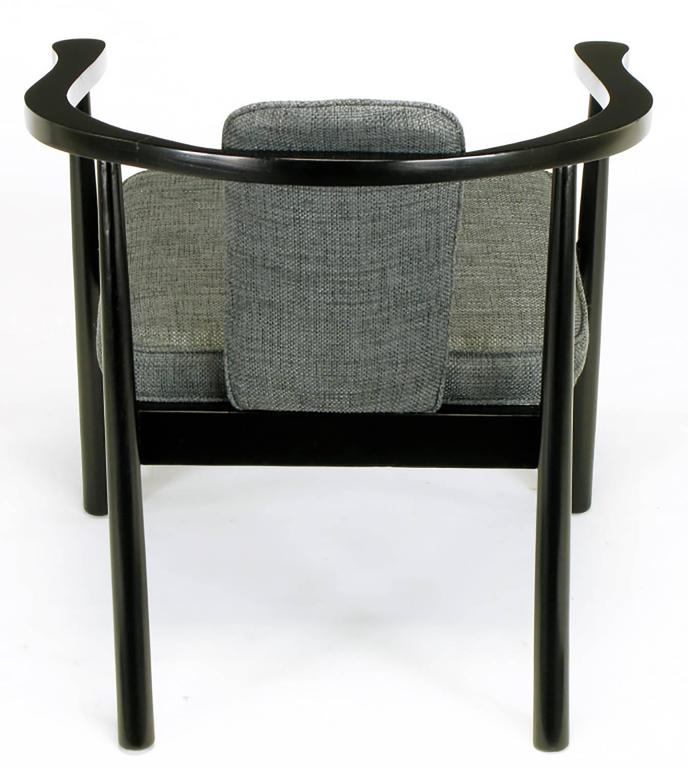Six Slate Grey Linen Upholstered and Ebonized Yoke Arm Dining Chairs For Sale 1