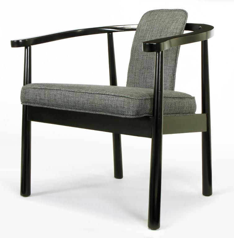 Six Slate Grey Linen Upholstered and Ebonized Yoke Arm Dining Chairs For Sale 2