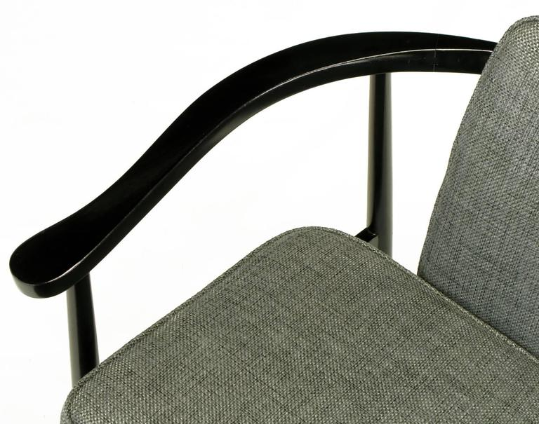 Six Slate Grey Linen Upholstered and Ebonized Yoke Arm Dining Chairs For Sale 3