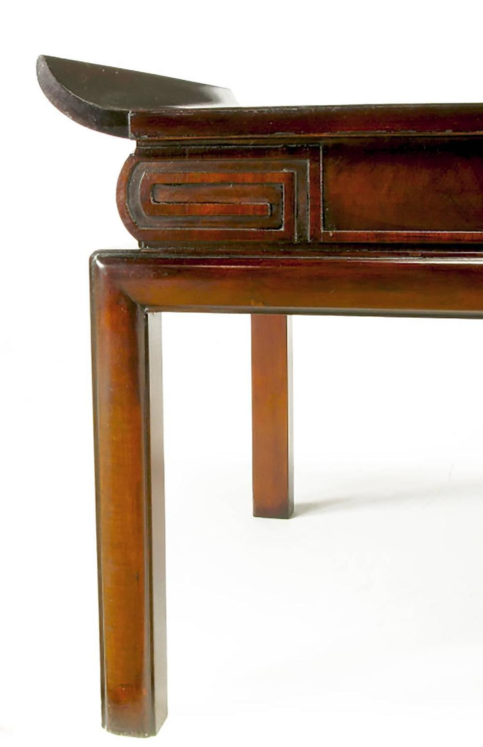 1940s Mahogany And Leather Pagoda Top Greek Key Coffee Table For Sale At 1stdibs