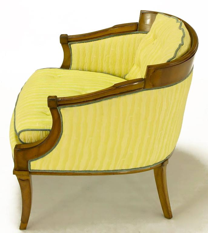 Pair of Oxford Ltd Saffron Striped Barrel Lounge Chairs In Good Condition For Sale In Chicago, IL