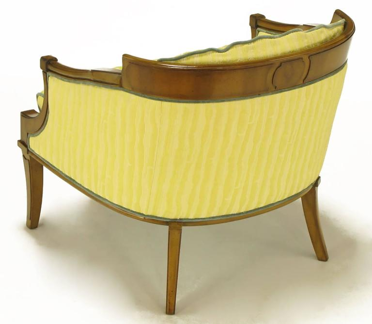 Mid-20th Century Pair of Oxford Ltd Saffron Striped Barrel Lounge Chairs For Sale