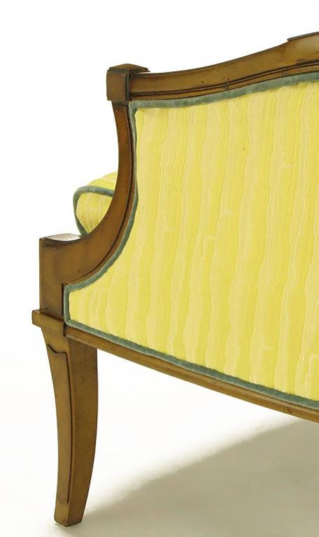 Pair of Oxford Ltd Saffron Striped Barrel Lounge Chairs For Sale 2