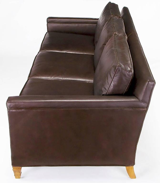 Mid-Century Modern Heritage Furniture Dark Chocolate Leather Three-Seat Sofa, circa 1960s For Sale