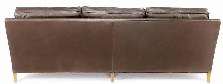 American Heritage Furniture Dark Chocolate Leather Three-Seat Sofa, circa 1960s For Sale