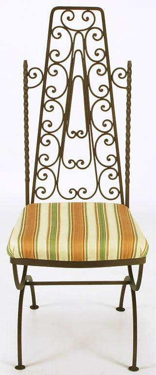 Four Spanish Revival Wrought Iron Filigree Dining Chairs