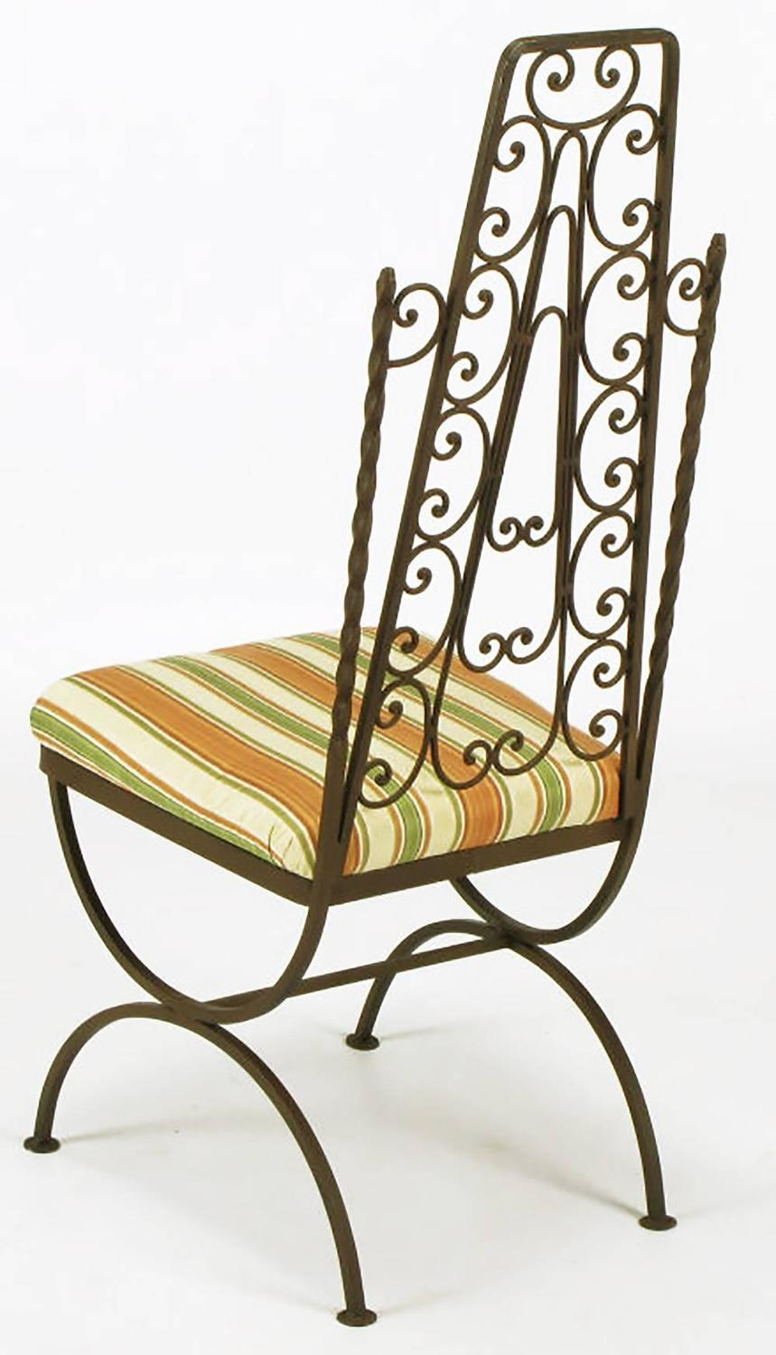 Four Spanish Revival Wrought Iron Filigree Dining Chairs ...