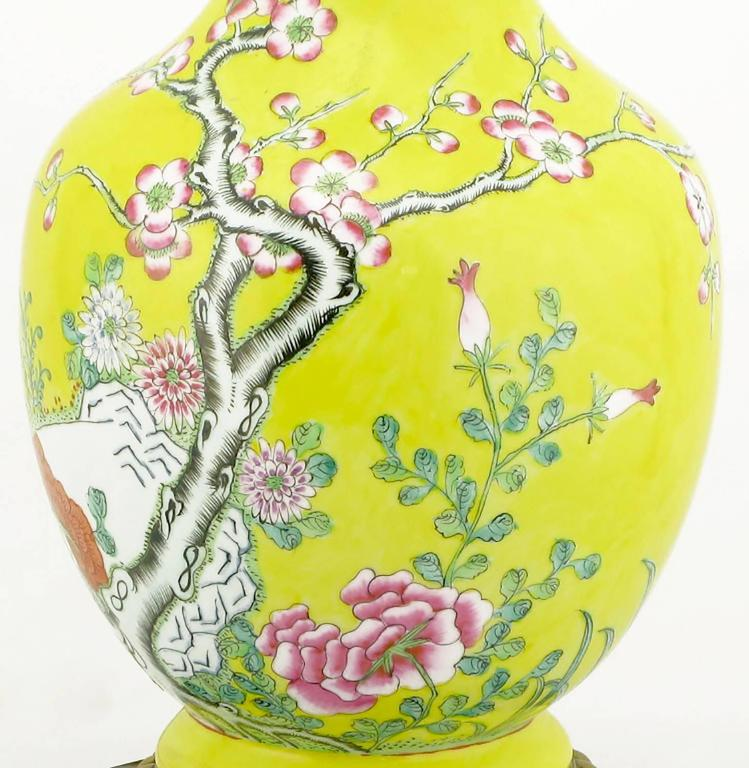 Pair of Paul Hanson Yellow Ceramic Table Lamps with Hand-Painted Cherry Blossoms For Sale 1