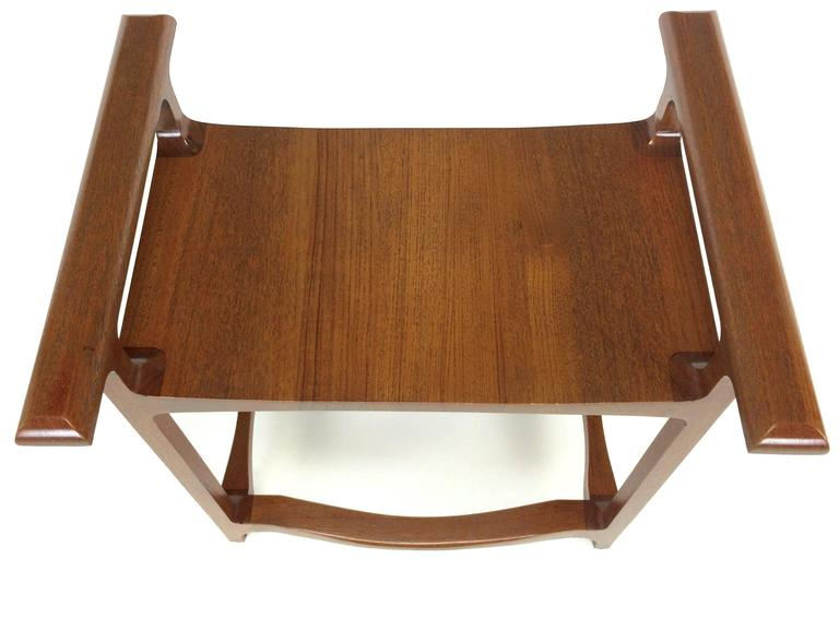 Signed and Dated Studio Crafted Teak Wood Bench Seat In Good Condition For Sale In Chicago, IL