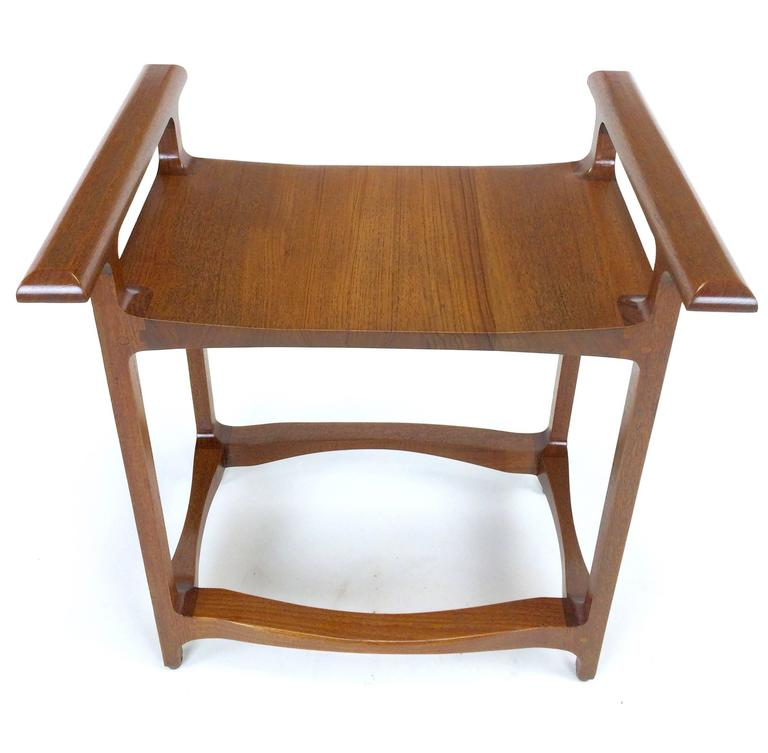 Late 20th Century Signed and Dated Studio Crafted Teak Wood Bench Seat For Sale