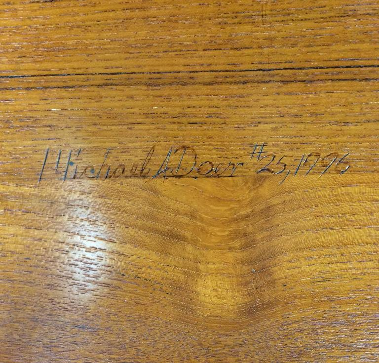 Signed and Dated Studio Crafted Teak Wood Bench Seat For Sale 1