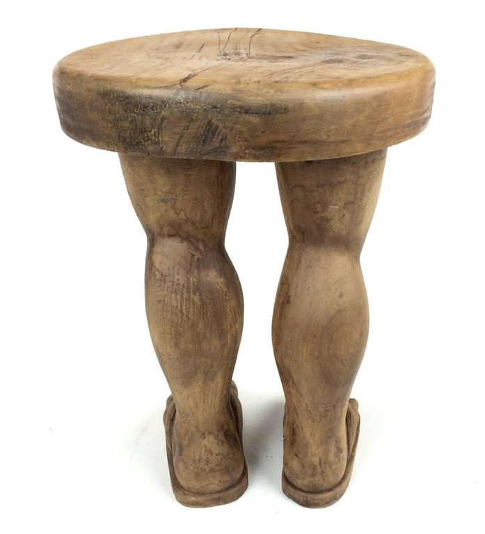 """Hand-Carved Solid Wood Folk Art """"Foot"""" Stool In Excellent Condition For Sale In Chicago, IL"""
