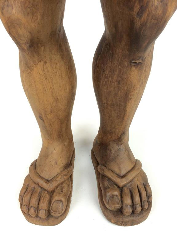 """Hand-Carved Solid Wood Folk Art """"Foot"""" Stool For Sale 1"""