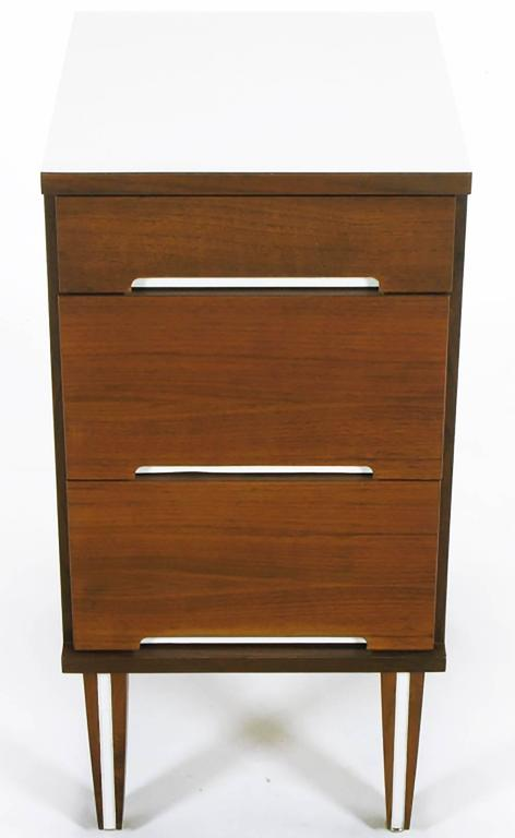 walnut and white micarta three drawer nightstand for sale at 1stdibs. Black Bedroom Furniture Sets. Home Design Ideas
