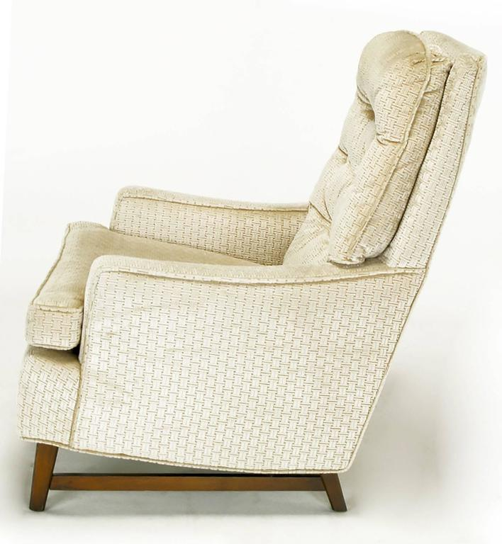 Mid-20th Century Pair of 1960s High Back Ivory Cut Velvet Lounge Chairs after Harvey Probber For Sale