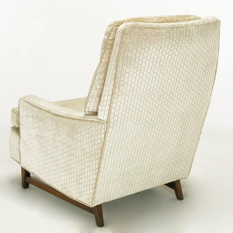 Mahogany Pair of 1960s High Back Ivory Cut Velvet Lounge Chairs after Harvey Probber For Sale
